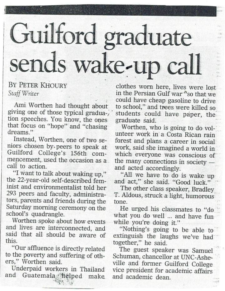 Ami Worthen Guilford College graduation speech, 1993