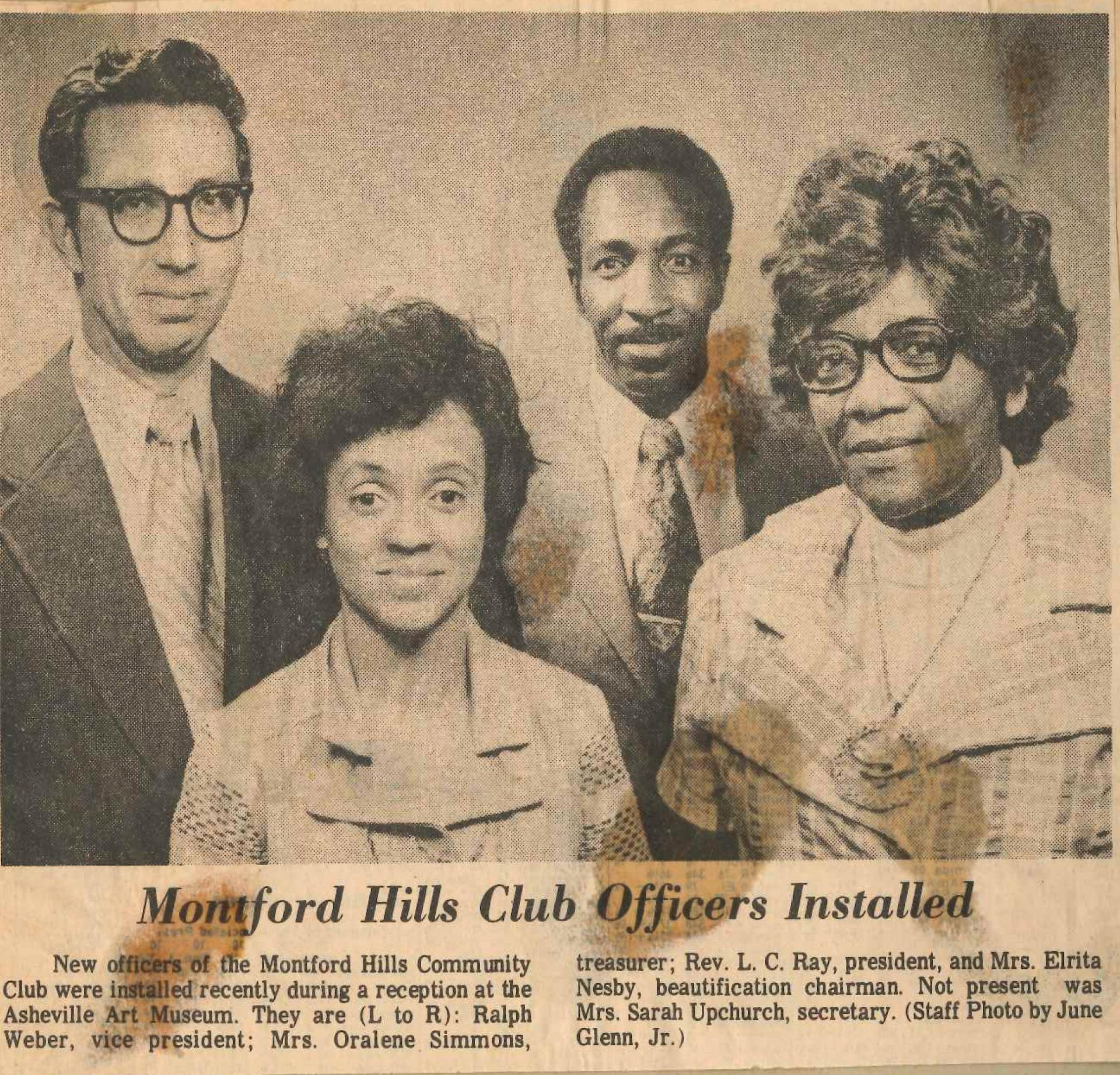 Montford Hills Club Officers 1976